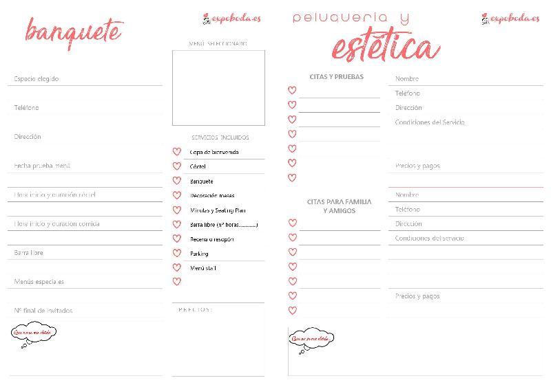 Agenda de boda 2018 para imprimir